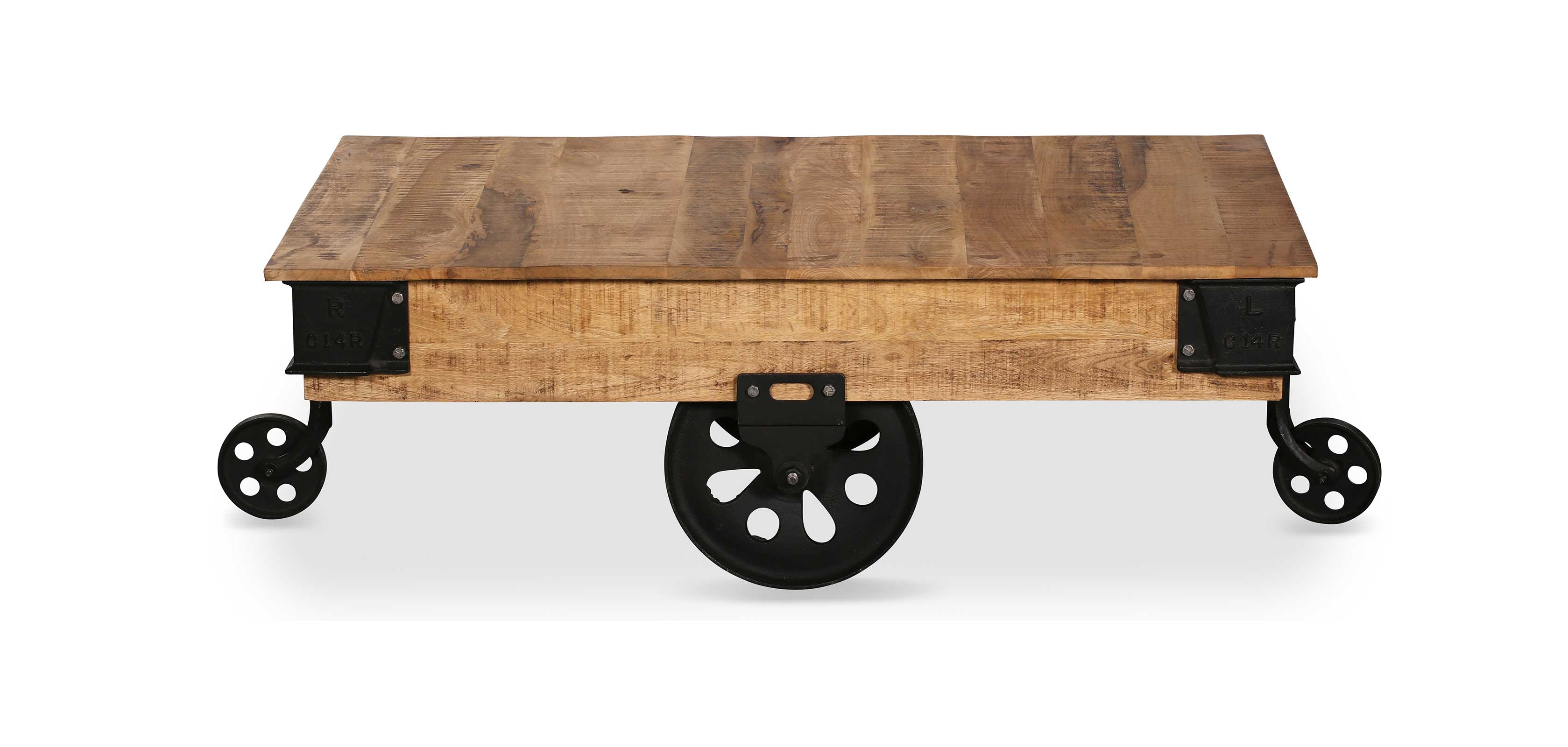 Vintage Industrial Grange&Co Wheel Coffee Table Wood