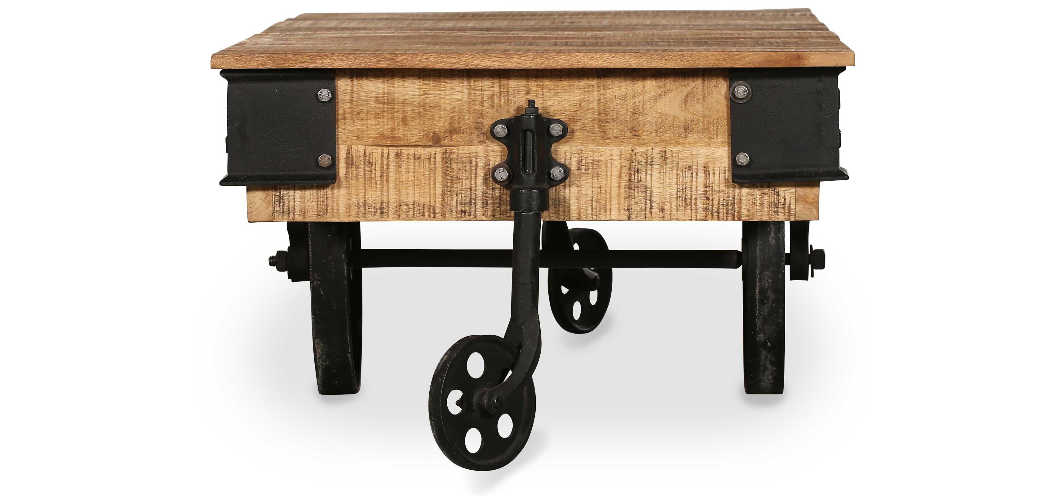 Vintage Industrial Grange&Co Wheel Coffee Table Wood