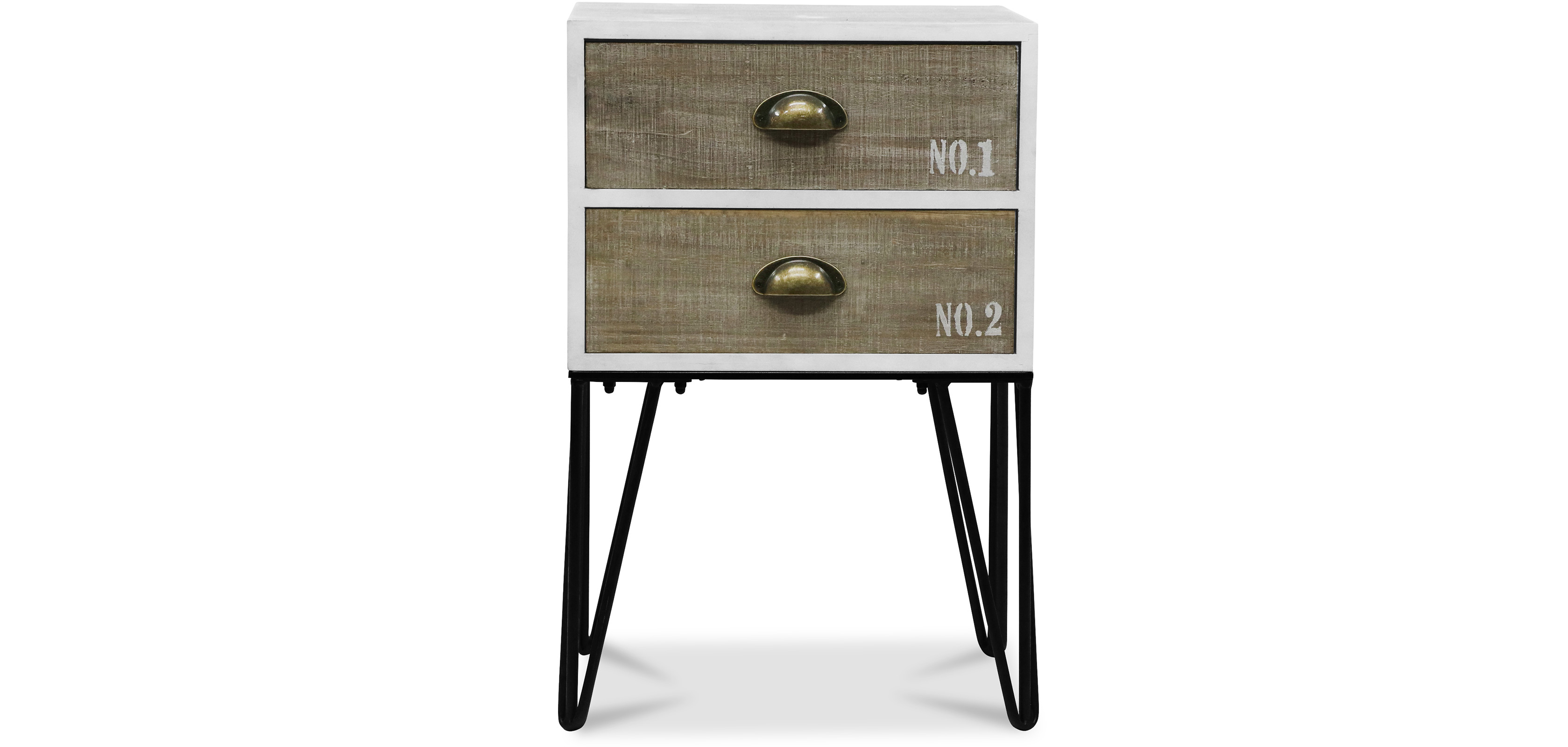 industrial vintage hairpin bedside table. Black Bedroom Furniture Sets. Home Design Ideas