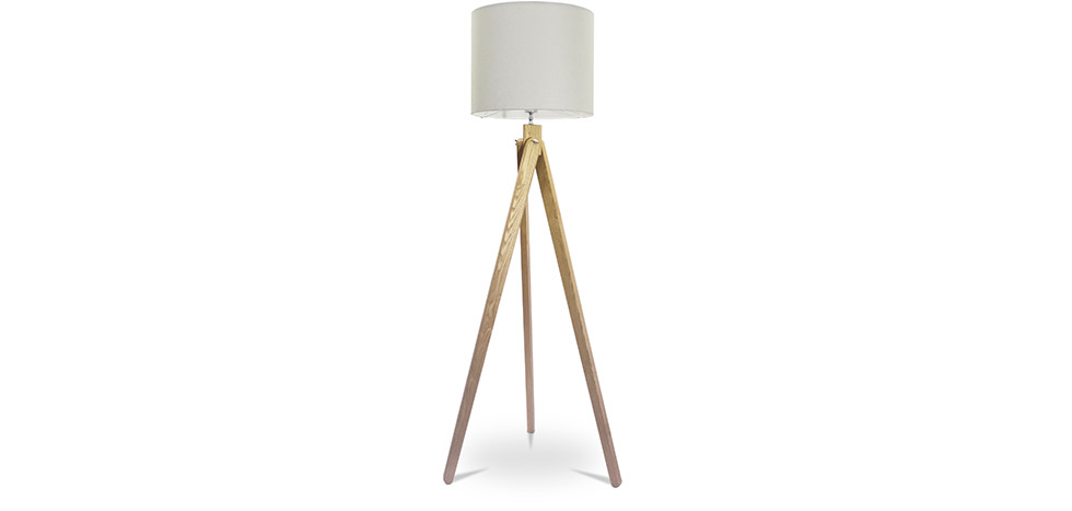 Tripod floor lamp wooden base nordic style aloadofball Choice Image