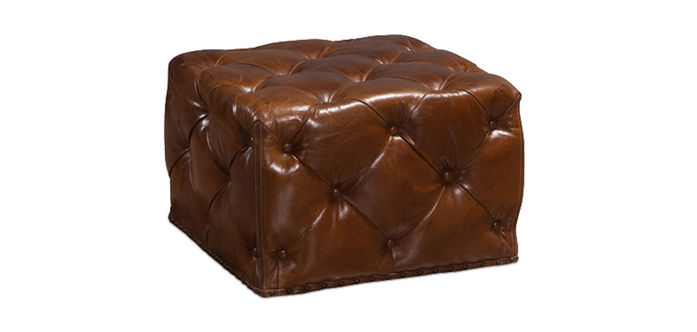 Vintage Style Brown Leather Square Ottoman