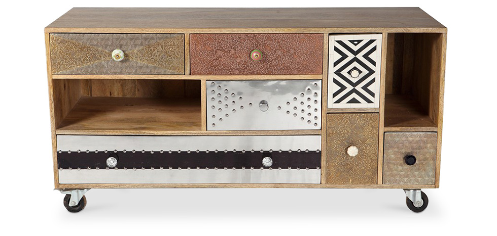 Mady vintage design TV cabinet with wheels
