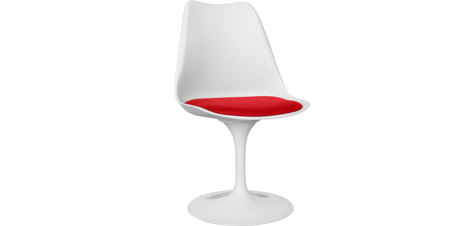 Buy White Tulipa chair with cushion Red 59156 - in the UK
