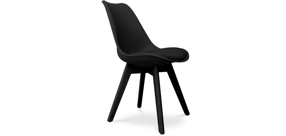 Buy Premium Deswood Scandinavian Design black chair with cushion Black 59277 - in the UK