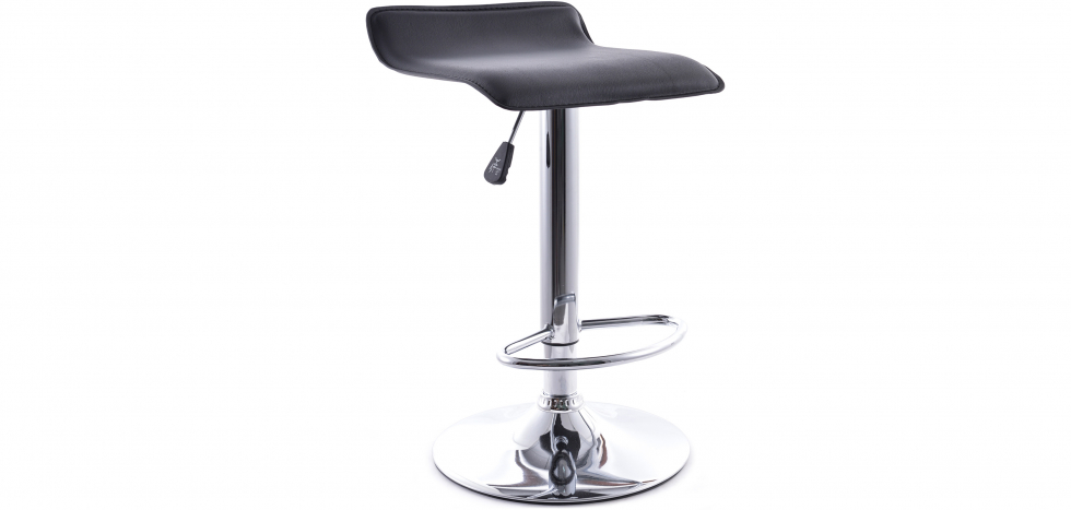 Swivel Chromed Metal Office Bar Stool - Height Adjustable - Angled View