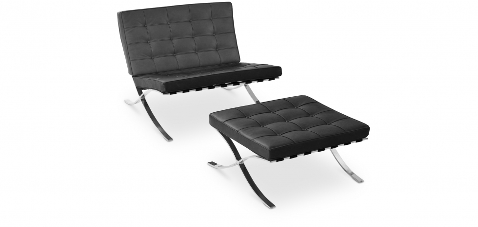 Buy Armchair Barcelona ottoman Ludwig Mies van der Rohe Black 13184 - in the UK