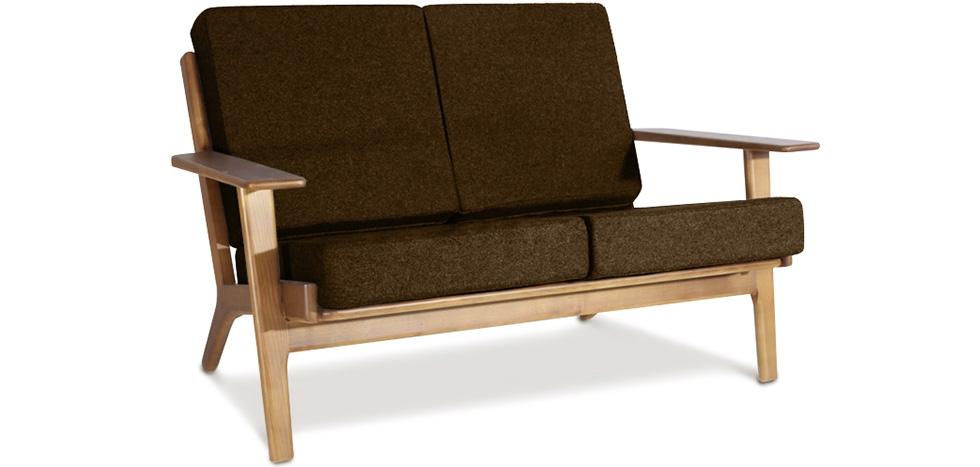 Buy Scandinavian design Sofa Scandinavian (2 seats) - Fabric Brown 13249 - in the UK
