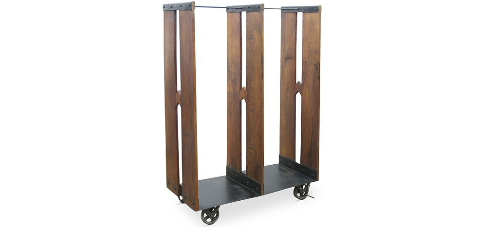 Buy Industrial rack with wheels Natural wood 58327 - in the UK