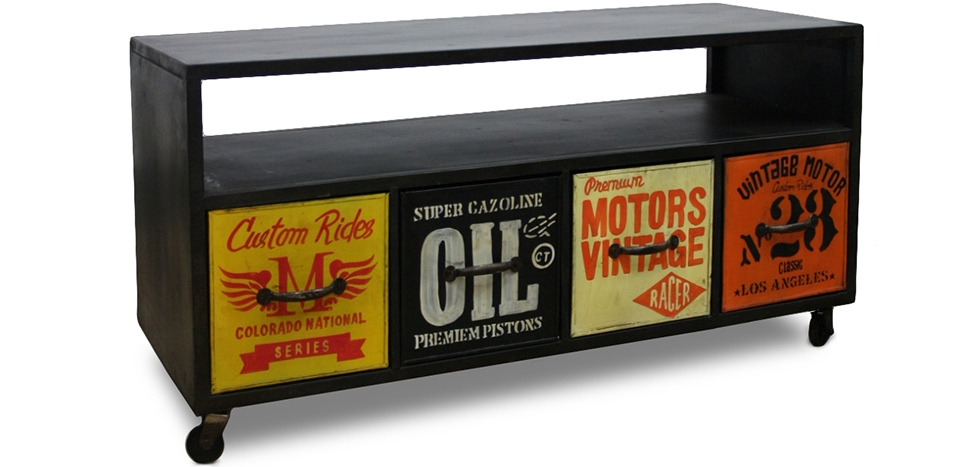 Buy Industrial Style Rock Sideboard with wheels Black 58365 - in the UK