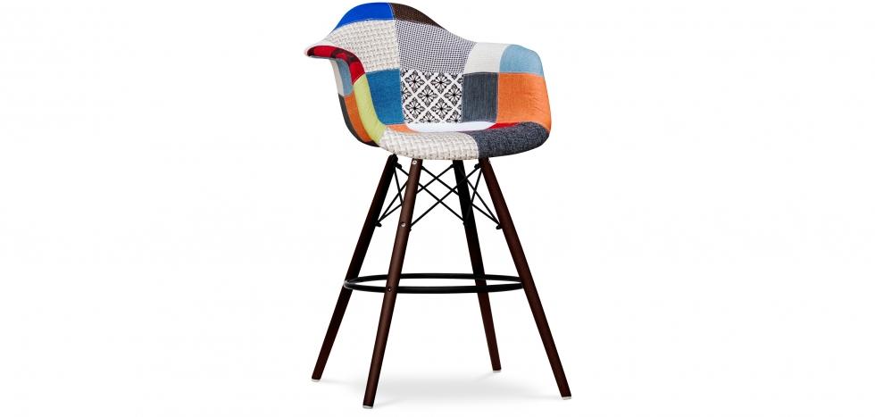 Buy Dark legs Dawood Bar Stool - Patchwork Piti Multicolour 59042 - in the UK