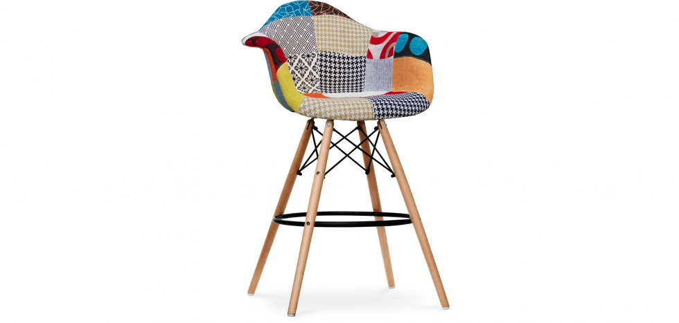 Buy Premium Dawood Bar Stool - Patchwork Amy Multicolour 59035 - in the UK