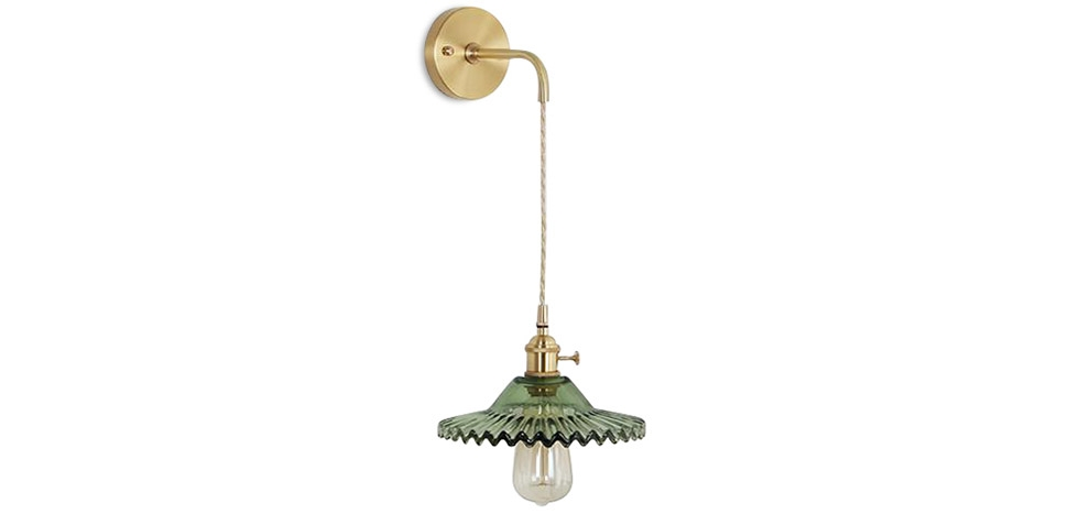 Buy Gold metal and glass wall lamp Green 59165 - in the UK