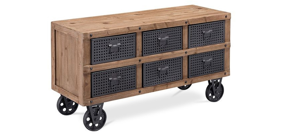 Buy Circus Industrial Sideboard / TV cabinet - Wood and metal Natural wood 59288 - in the UK