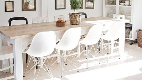 White Chairs with steel legs