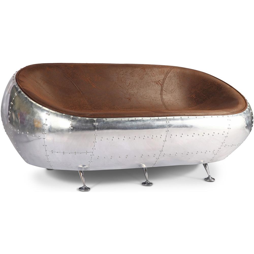 Egg Aviator Sofa Imitation Aged Leather