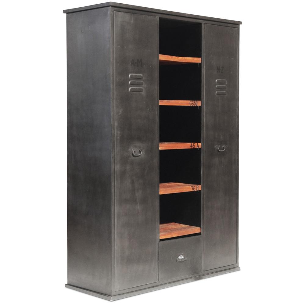 Buy Vintage Industrial Storage Wardrobe Metal Black 27745 In The
