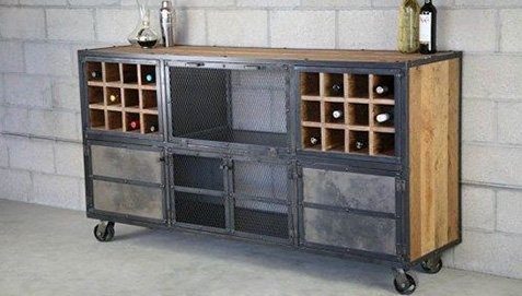 Bar Sideboard with Wheels Lying in a room