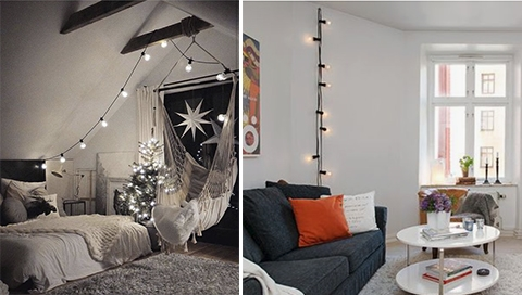 Bulb Garland hanging in the rooms