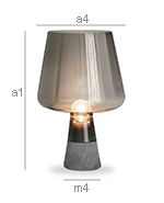 Stone and Smoked Glass Lamp - Seren - Dimensions