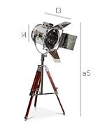 Tripod Desk Lamp - Floodlight - Height Adjustable - Dimensions