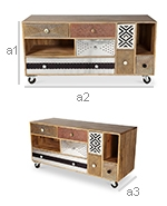 Mady Vintage Design TV Cabinet with Wheels - Dimensions of Drawers