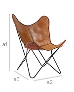Butterfly Chair - Premium Leather -Dimensions