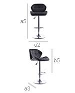 Swivel Chromed Metal Backrest Bar Stool - Height Adjustable - Dimensions