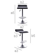 Seat of Swivel Chromed Metal Office Bar Stool - Height Adjustable - Dimensions
