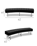 Montes Sofa Bench Faux Leather - Dimensions