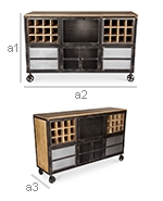 Industrial Style Wine Bar Sideboard with Wheels - Avara - Dimensions