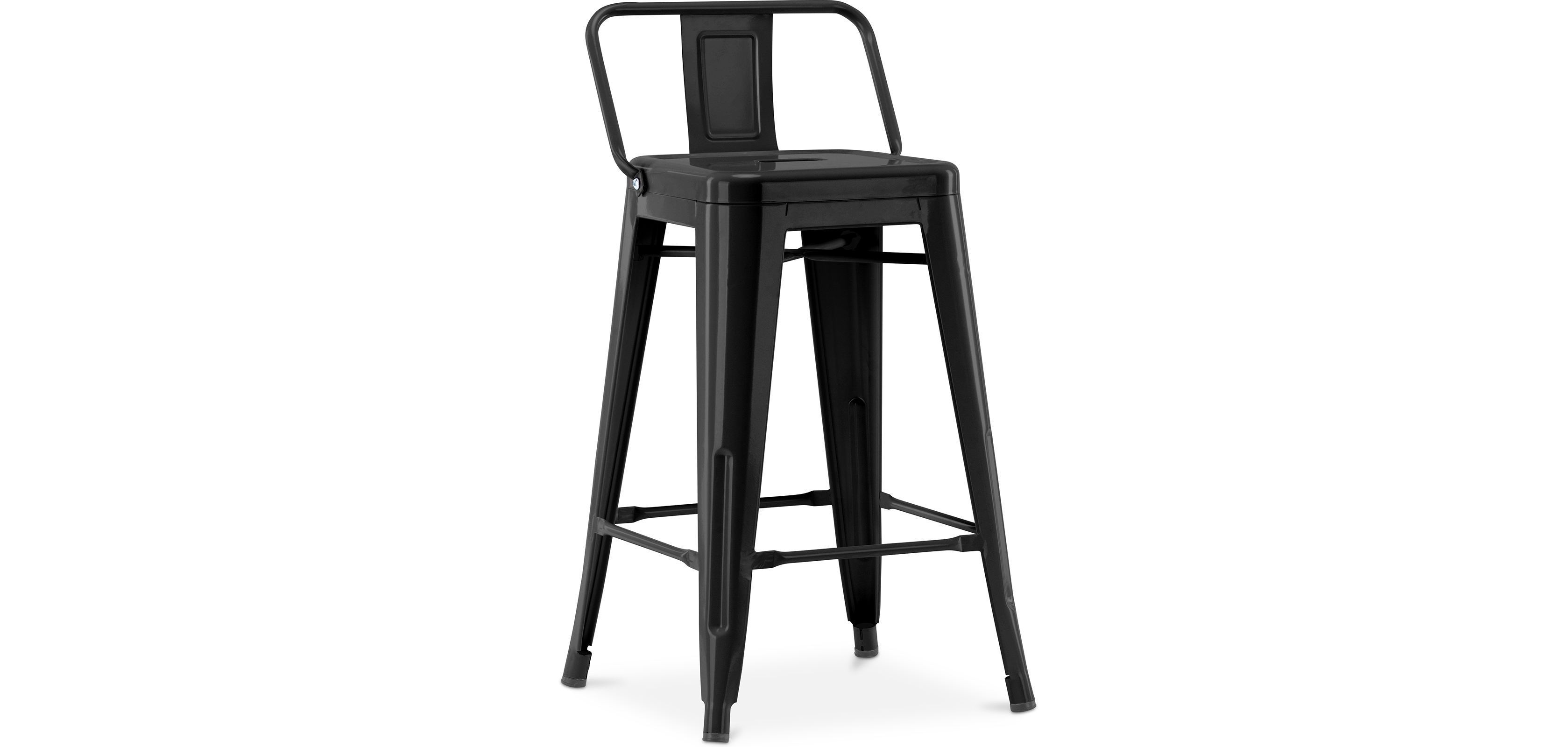 Buy Tolix Style stool with small backrest - 60cm Black 58409 - in the UK