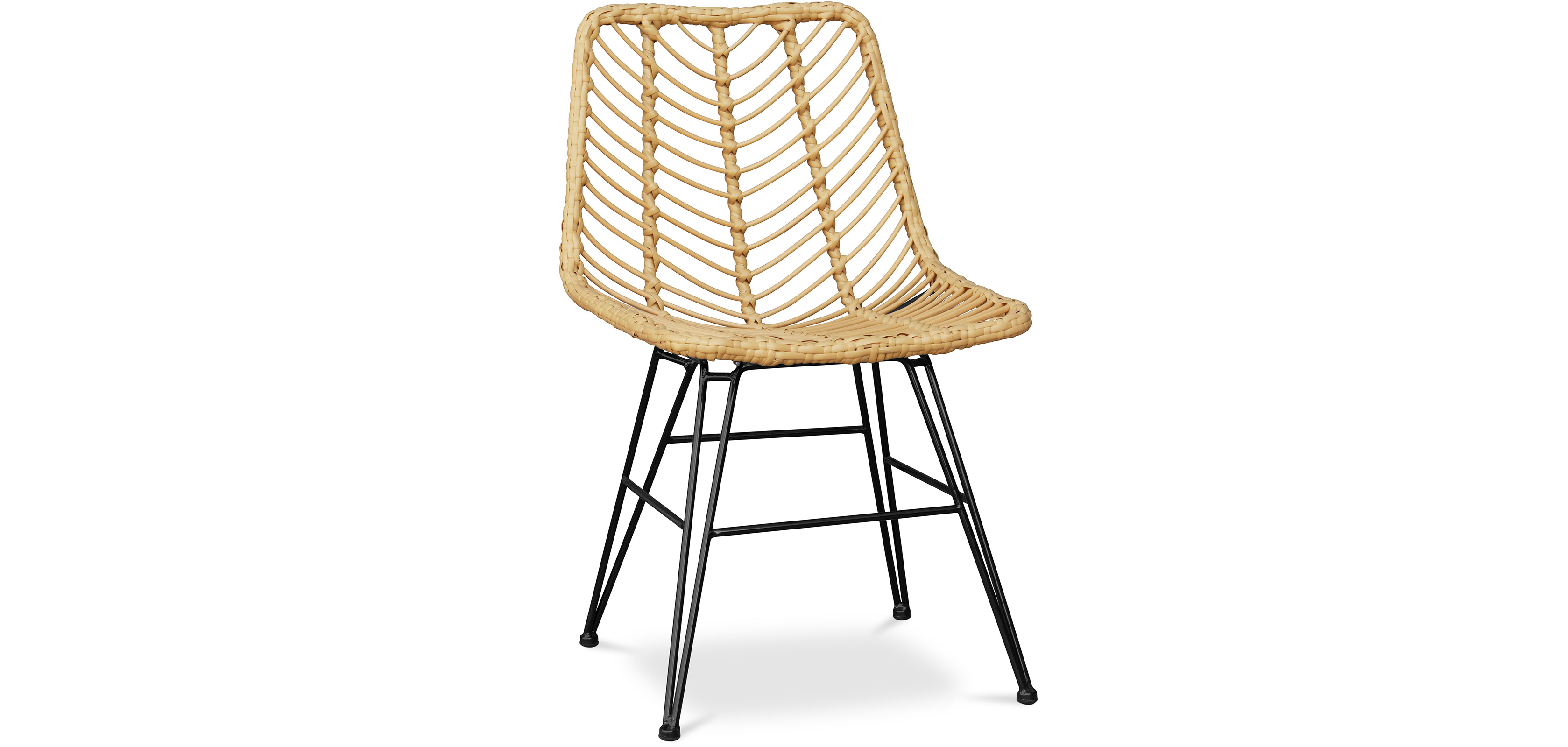 Buy Synthetic wicker dining chair - Valery Natural wood 59254 - in the UK