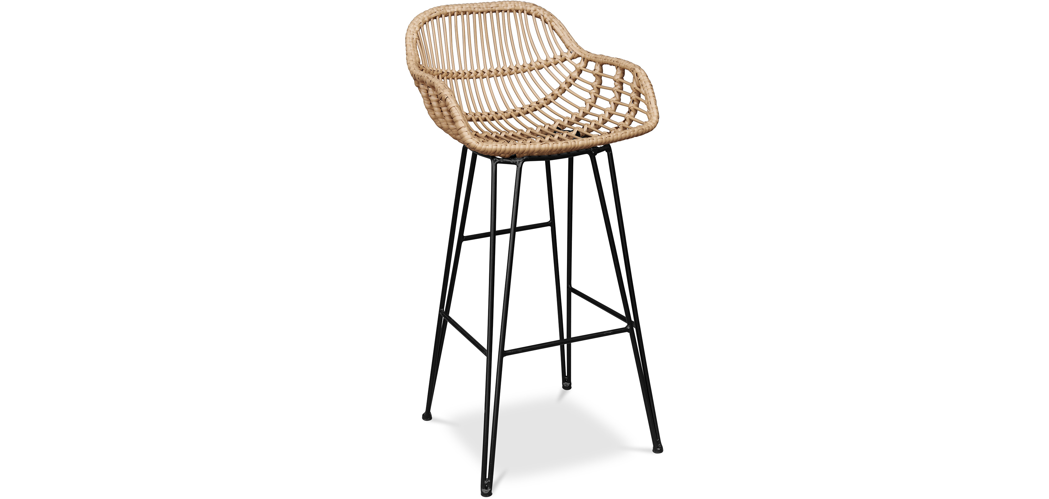 Buy Synthetic wicker bar stool - Magony Natural wood 59256 - in the UK