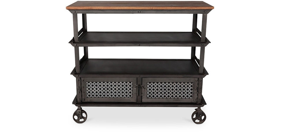 Buy Industrial style metal Sideboard with wheels - Avara Steel 58574 - in the UK