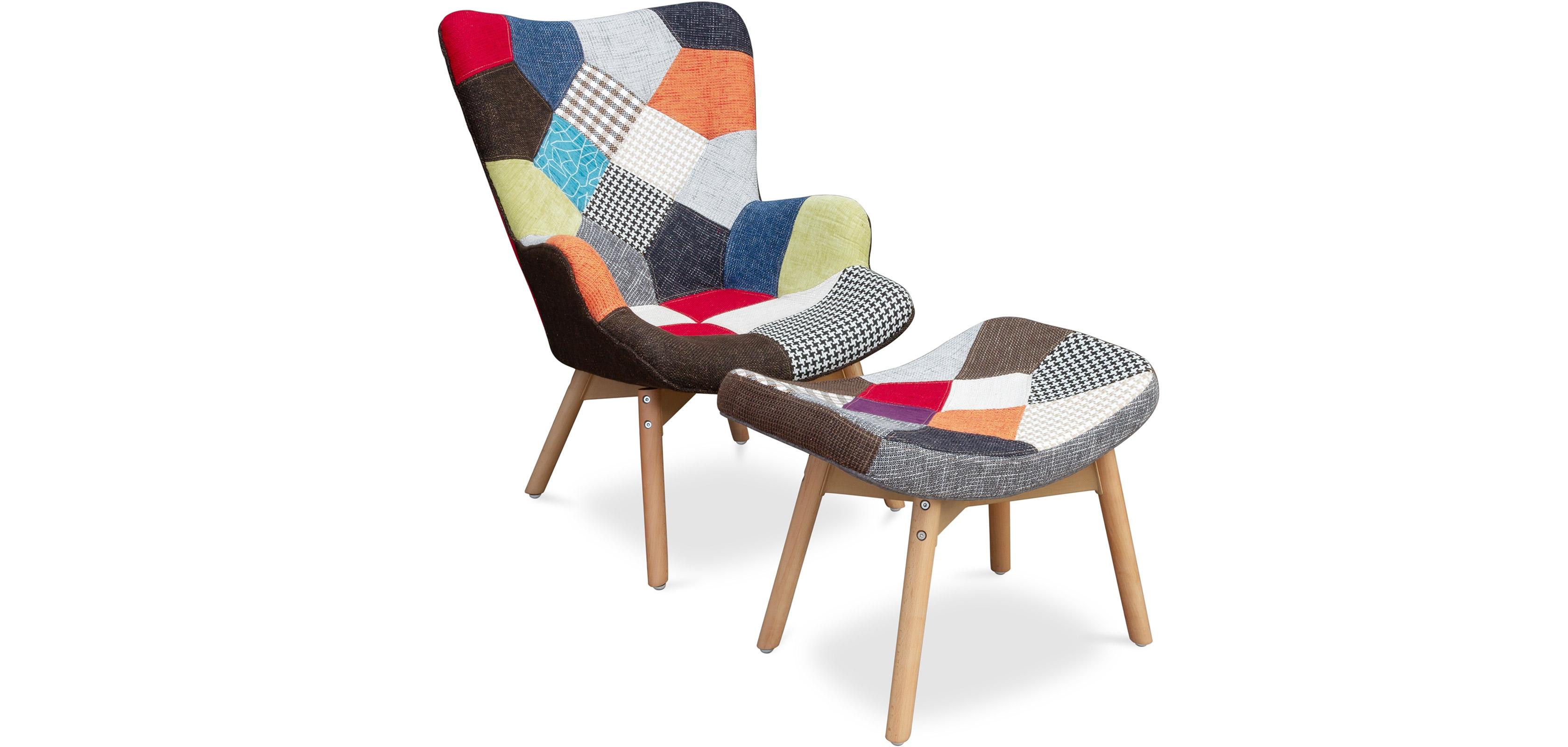 Buy Contor Armchair and Footstool Patchwork Lar  - Scandinavian design  Multicolour 59248 - in the UK