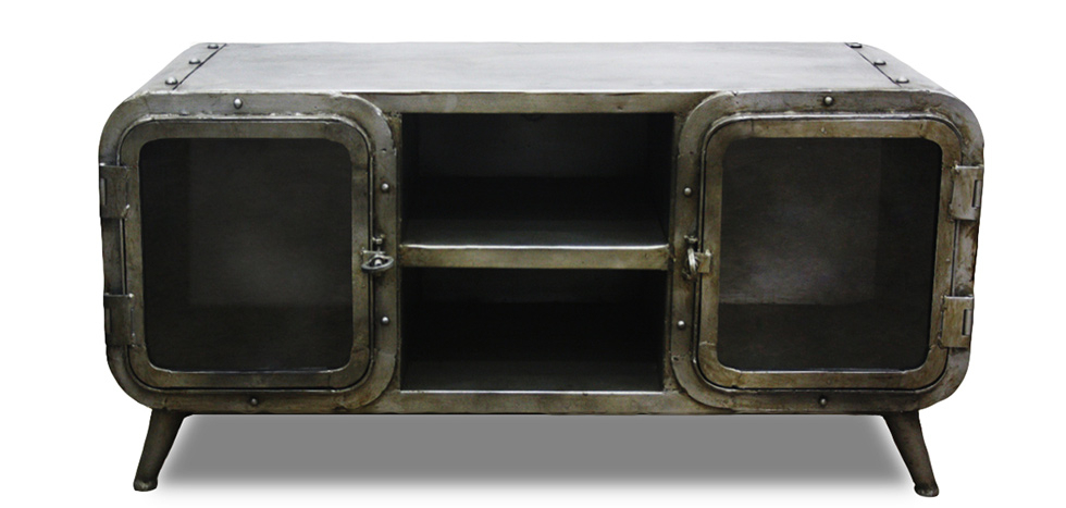 Buy Industrial Antique Vintage Style TV Cabinet - Grange & Co. - Iron Steel 54023 - in the UK